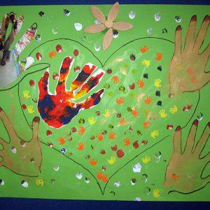 selbst gefertigte Collage: Hände auf grünem Hintergrund