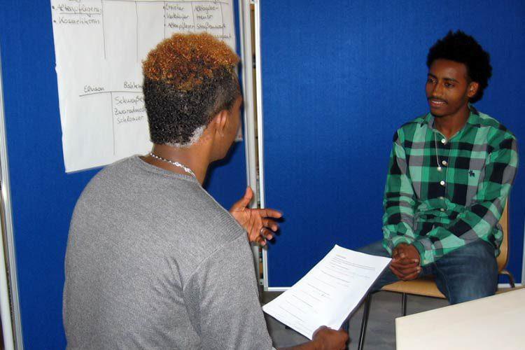 Bewerbungstraining, eine Interviewsituation