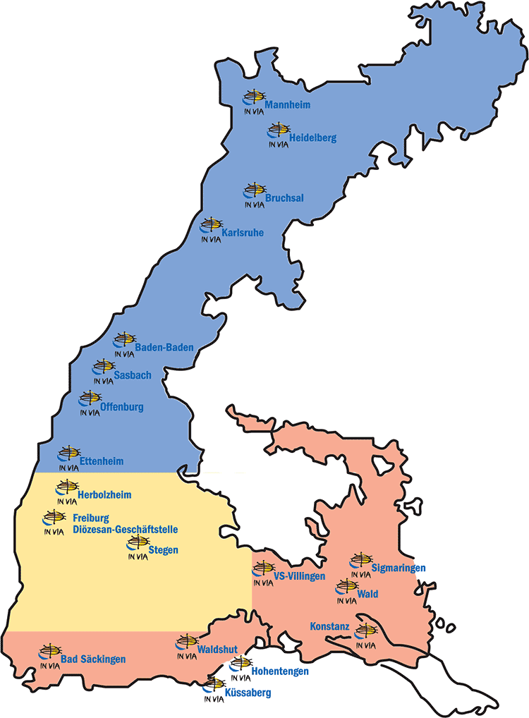Übersicht der Standorte und Regionen von IN VIA